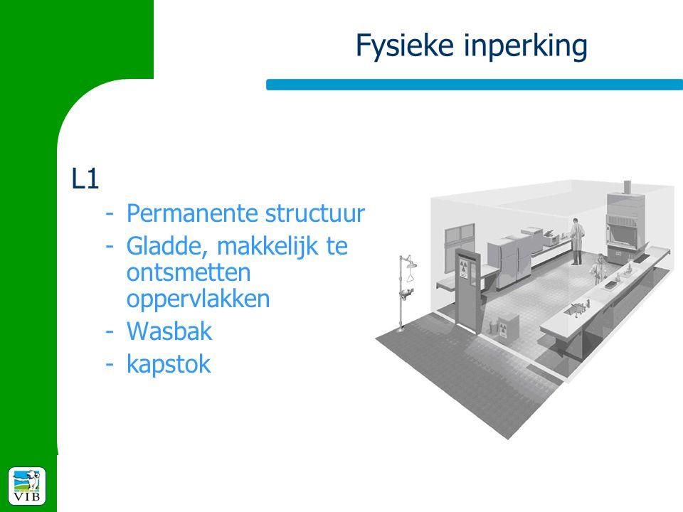 Fysieke inperking L1 -Permanente structuur -Gladde, makkelijk te ontsmetten oppervlakken -Wasbak -kapstok