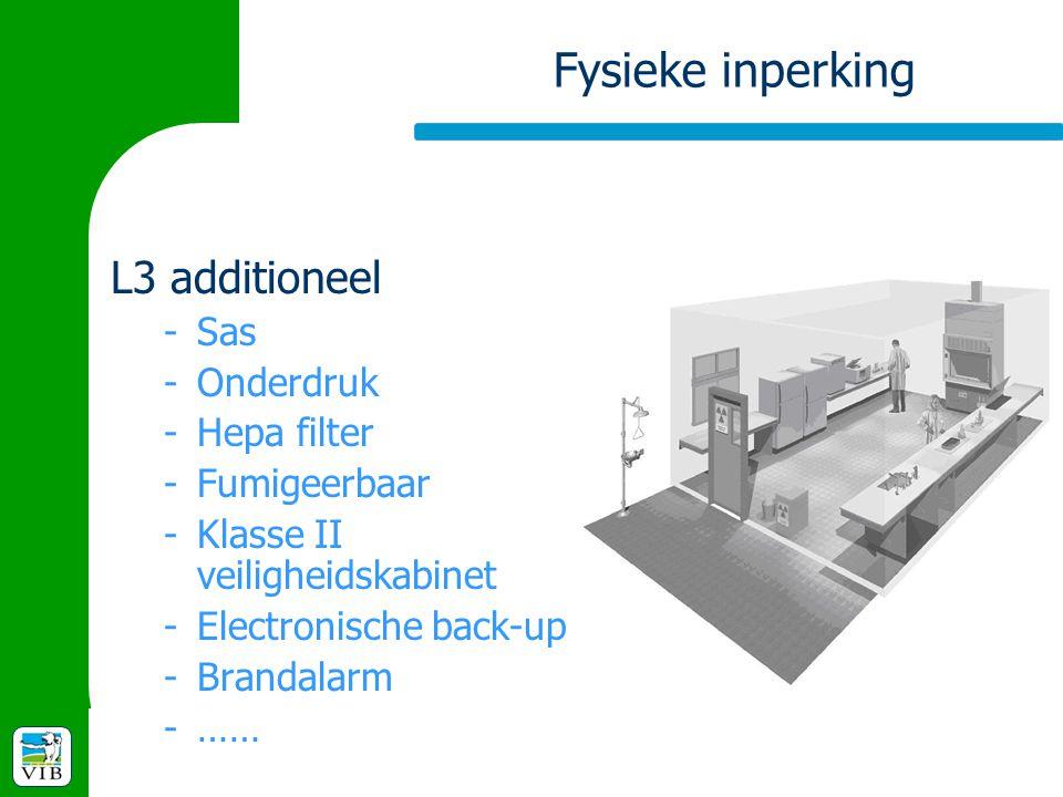 Fysieke inperking L3 additioneel -Sas -Onderdruk -Hepa filter -Fumigeerbaar -Klasse II veiligheidskabinet -Electronische back-up -Brandalarm -……