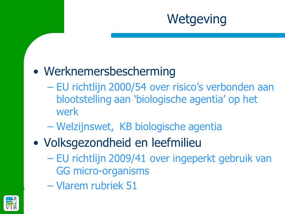 Wetgeving Werknemersbescherming –EU richtlijn 2000/54 over risico's verbonden aan blootstelling aan 'biologische agentia' op het werk –Welzijnswet, KB