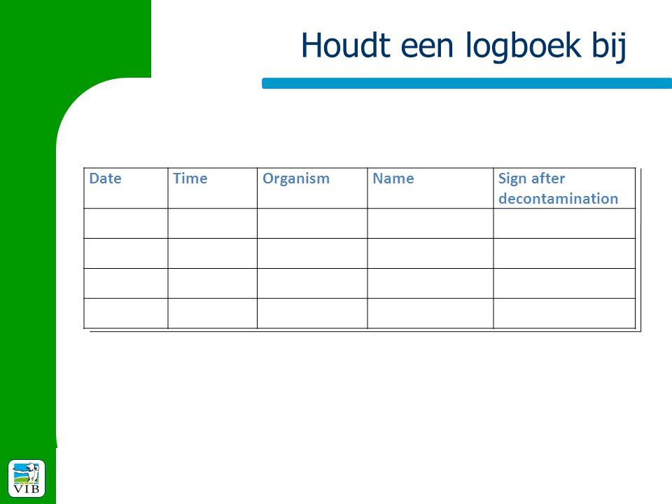 Houdt een logboek bij DateTimeOrganismNameSign after decontamination