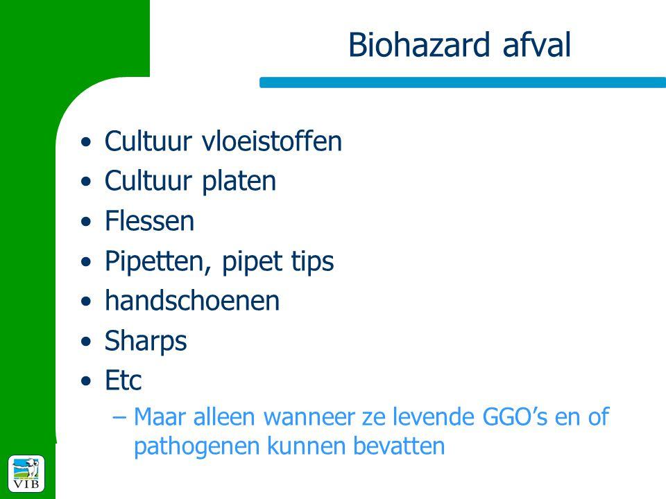 Biohazard afval Cultuur vloeistoffen Cultuur platen Flessen Pipetten, pipet tips handschoenen Sharps Etc –Maar alleen wanneer ze levende GGO's en of p