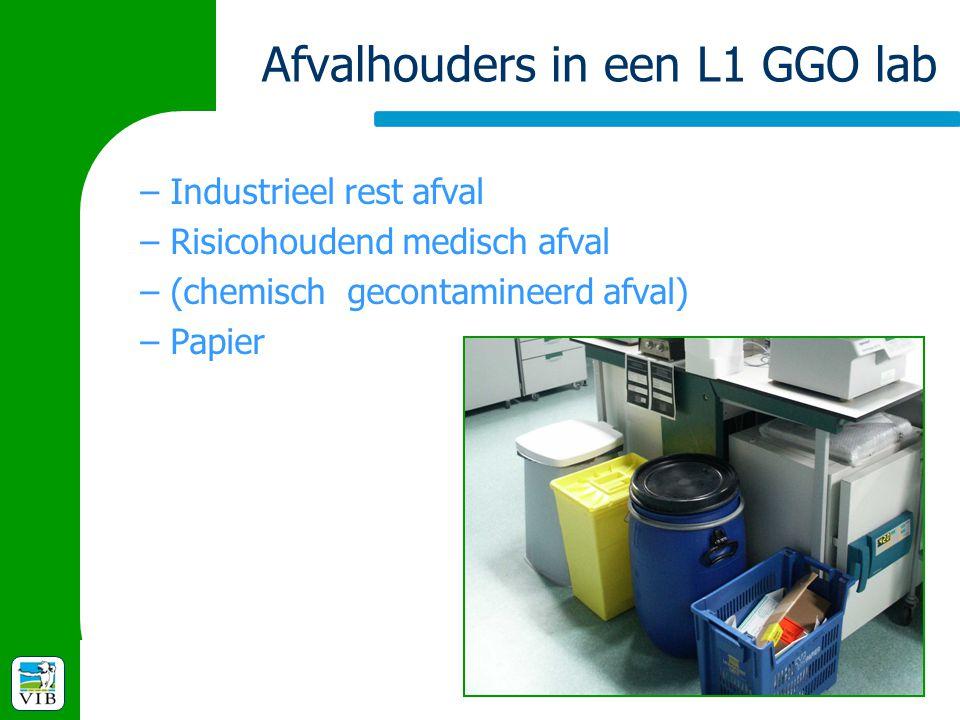 Afvalhouders in een L1 GGO lab –Industrieel rest afval –Risicohoudend medisch afval –(chemisch gecontamineerd afval) –Papier