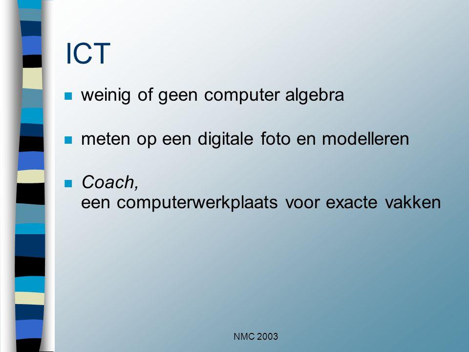 NMC 2003 ICT n weinig of geen computer algebra n meten op een digitale foto en modelleren n Coach, een computerwerkplaats voor exacte vakken