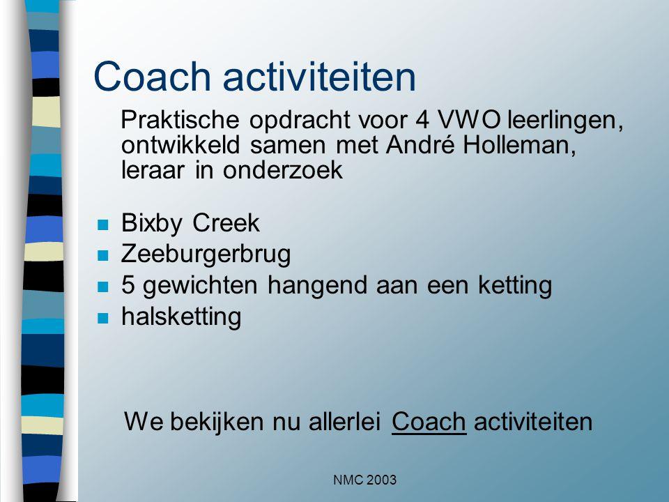 NMC 2003 Coach activiteiten Praktische opdracht voor 4 VWO leerlingen, ontwikkeld samen met André Holleman, leraar in onderzoek n Bixby Creek n Zeeburgerbrug n 5 gewichten hangend aan een ketting n halsketting We bekijken nu allerlei Coach activiteitenCoach