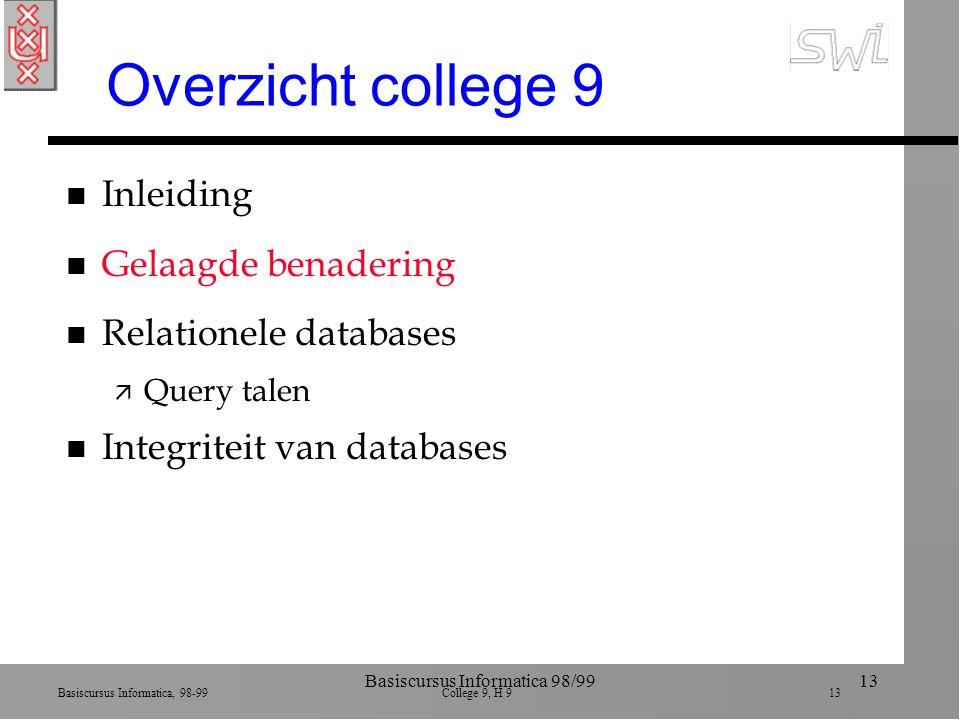 Basiscursus Informatica, 98-99 College 9, H 9 13 Basiscursus Informatica 98/9913 Overzicht college 9 n Inleiding n Gelaagde benadering n Relationele databases ä Query talen n Integriteit van databases