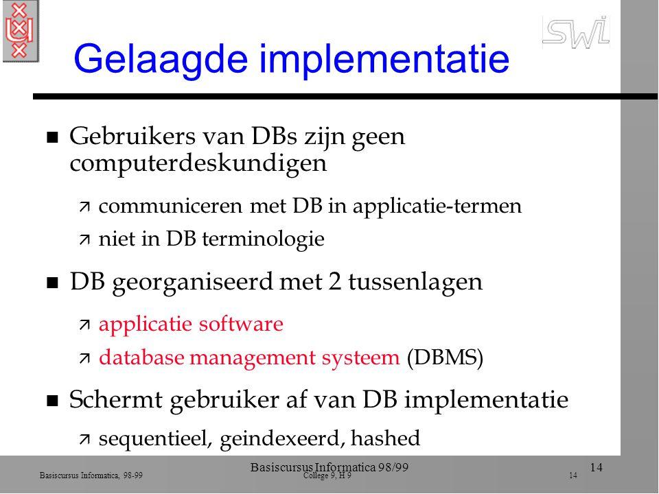 Basiscursus Informatica, 98-99 College 9, H 9 14 Basiscursus Informatica 98/9914 Gelaagde implementatie n Gebruikers van DBs zijn geen computerdeskund