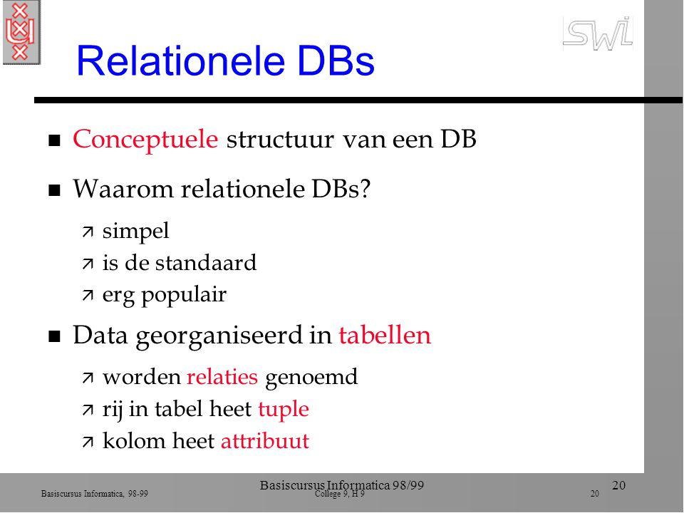 Basiscursus Informatica, 98-99 College 9, H 9 20 Basiscursus Informatica 98/9920 Relationele DBs n Conceptuele structuur van een DB n Waarom relationele DBs.