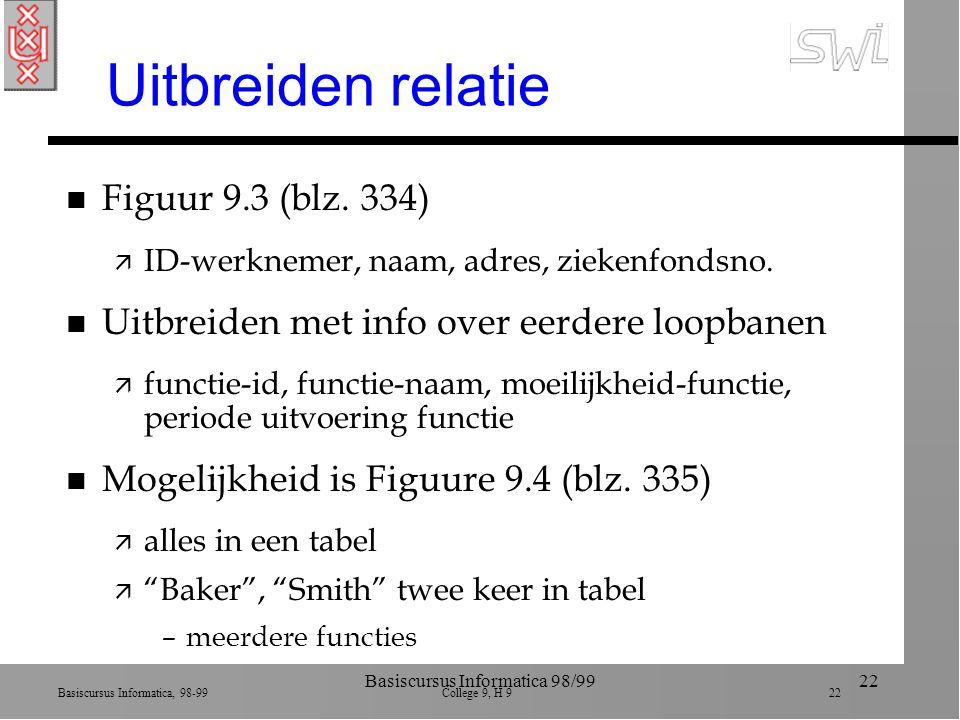 Basiscursus Informatica, 98-99 College 9, H 9 22 Basiscursus Informatica 98/9922 Uitbreiden relatie n Figuur 9.3 (blz. 334) ä ID-werknemer, naam, adre