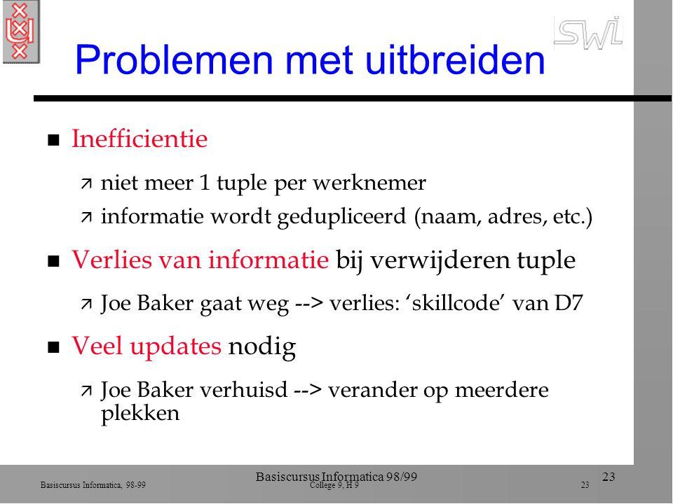 Basiscursus Informatica, 98-99 College 9, H 9 23 Basiscursus Informatica 98/9923 Problemen met uitbreiden n Inefficientie ä niet meer 1 tuple per werknemer ä informatie wordt gedupliceerd (naam, adres, etc.) n Verlies van informatie bij verwijderen tuple ä Joe Baker gaat weg --> verlies: 'skillcode' van D7 n Veel updates nodig ä Joe Baker verhuisd --> verander op meerdere plekken