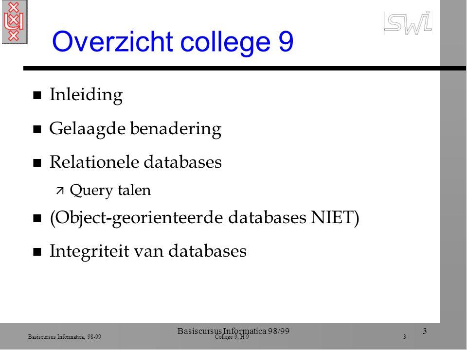 Basiscursus Informatica, 98-99 College 9, H 9 3 Basiscursus Informatica 98/993 Overzicht college 9 n Inleiding n Gelaagde benadering n Relationele dat