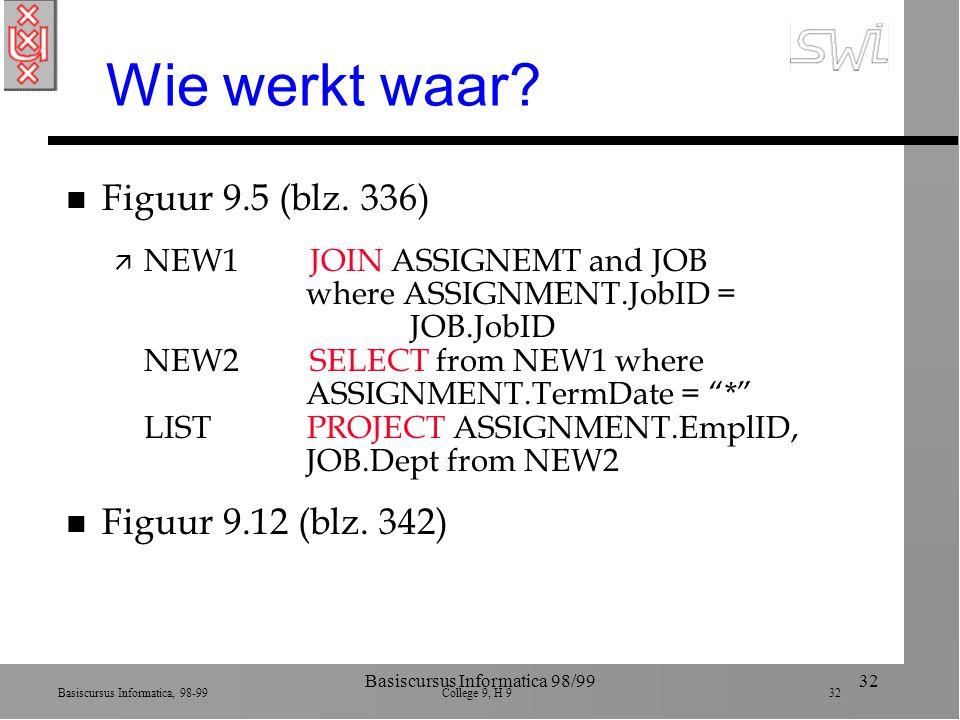 Basiscursus Informatica, 98-99 College 9, H 9 32 Basiscursus Informatica 98/9932 Wie werkt waar.