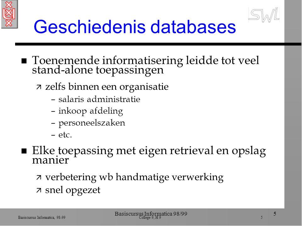 Basiscursus Informatica, 98-99 College 9, H 9 5 Basiscursus Informatica 98/995 Geschiedenis databases n Toenemende informatisering leidde tot veel sta
