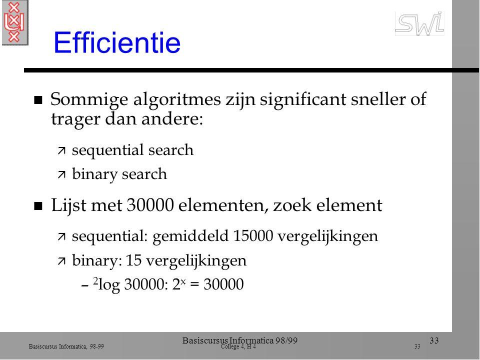 Basiscursus Informatica, 98-99 College 4, H 4 33 Basiscursus Informatica 98/9933 Efficientie n Sommige algoritmes zijn significant sneller of trager dan andere: ä sequential search ä binary search n Lijst met 30000 elementen, zoek element ä sequential: gemiddeld 15000 vergelijkingen ä binary: 15 vergelijkingen – 2 log 30000: 2 x = 30000