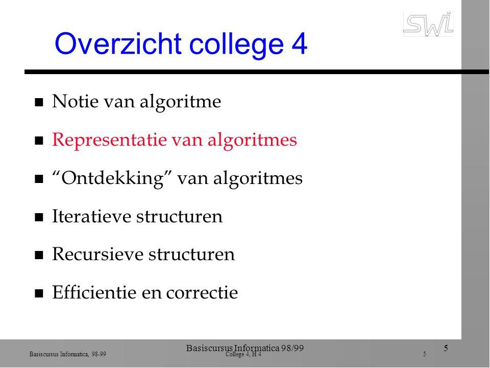 Basiscursus Informatica, 98-99 College 4, H 4 5 Basiscursus Informatica 98/995 Overzicht college 4 n Notie van algoritme n Representatie van algoritmes n Ontdekking van algoritmes n Iteratieve structuren n Recursieve structuren n Efficientie en correctie