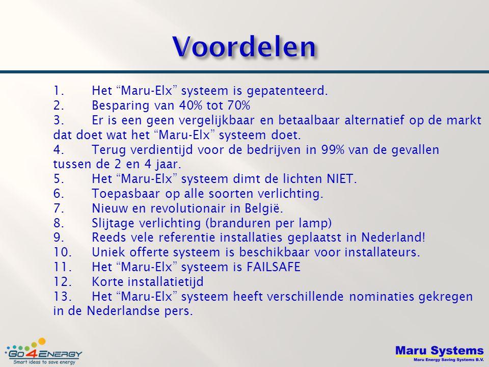 """1. Het """"Maru-Elx"""" systeem is gepatenteerd. 2. Besparing van 40% tot 70% 3. Er is een geen vergelijkbaar en betaalbaar alternatief op de markt dat doet"""