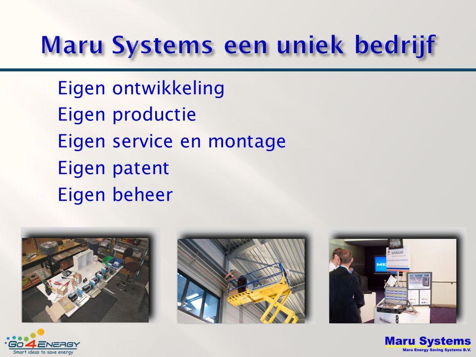  Eigen ontwikkeling  Eigen productie  Eigen service en montage  Eigen patent  Eigen beheer