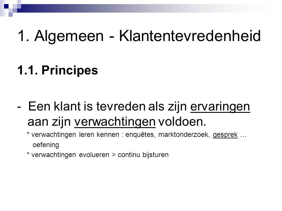 1. Algemeen - Klantentevredenheid 1.1. Principes - Een klant is tevreden als zijn ervaringen aan zijn verwachtingen voldoen. * verwachtingen leren ken