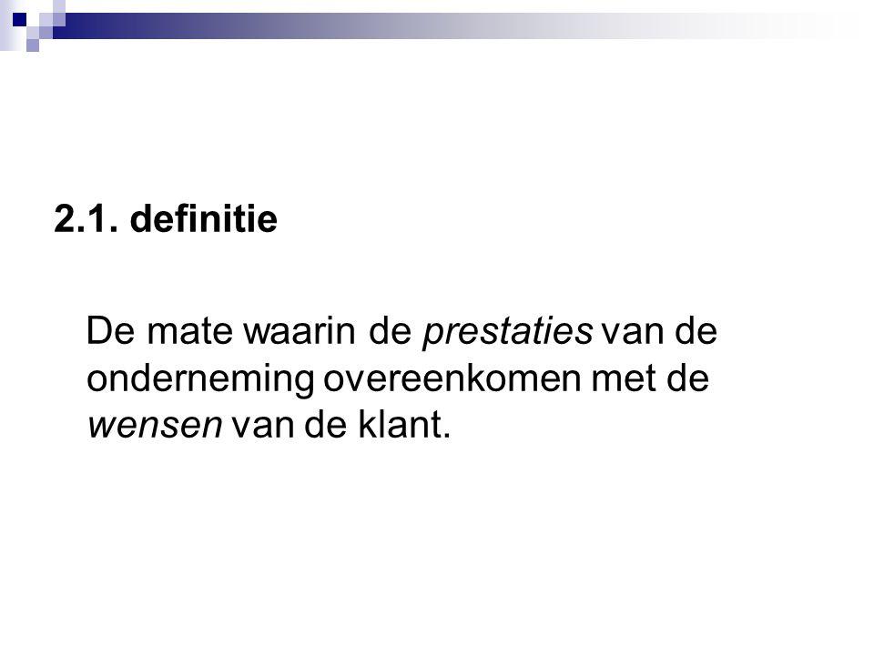 2.1. definitie De mate waarin de prestaties van de onderneming overeenkomen met de wensen van de klant.