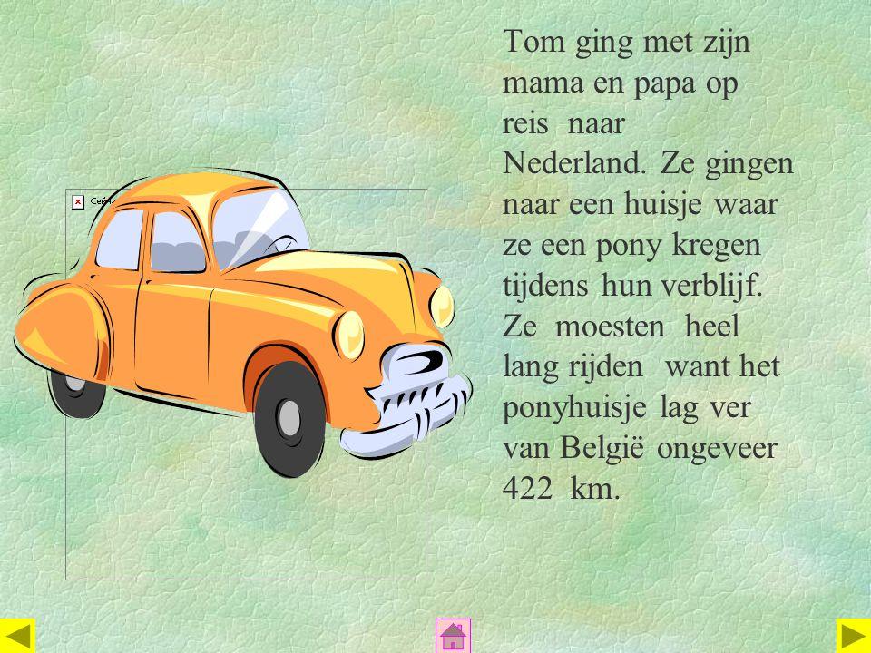 Tom ging met zijn mama en papa op reis naar Nederland. Ze gingen naar een huisje waar ze een pony kregen tijdens hun verblijf. Ze moesten heel lang ri