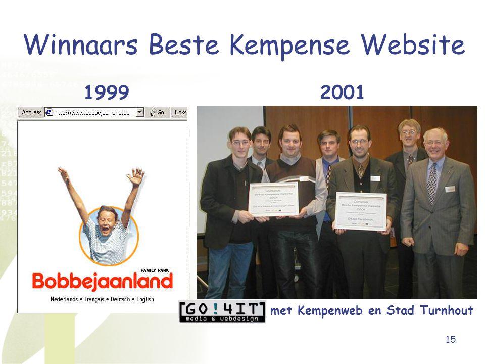 15 Winnaars Beste Kempense Website 19992001 met Kempenweb en Stad Turnhout