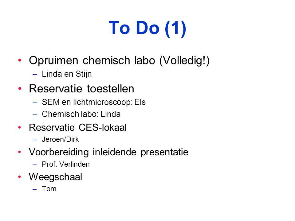 To Do (1) Opruimen chemisch labo (Volledig!) –Linda en Stijn Reservatie toestellen –SEM en lichtmicroscoop: Els –Chemisch labo: Linda Reservatie CES-lokaal –Jeroen/Dirk Voorbereiding inleidende presentatie –Prof.