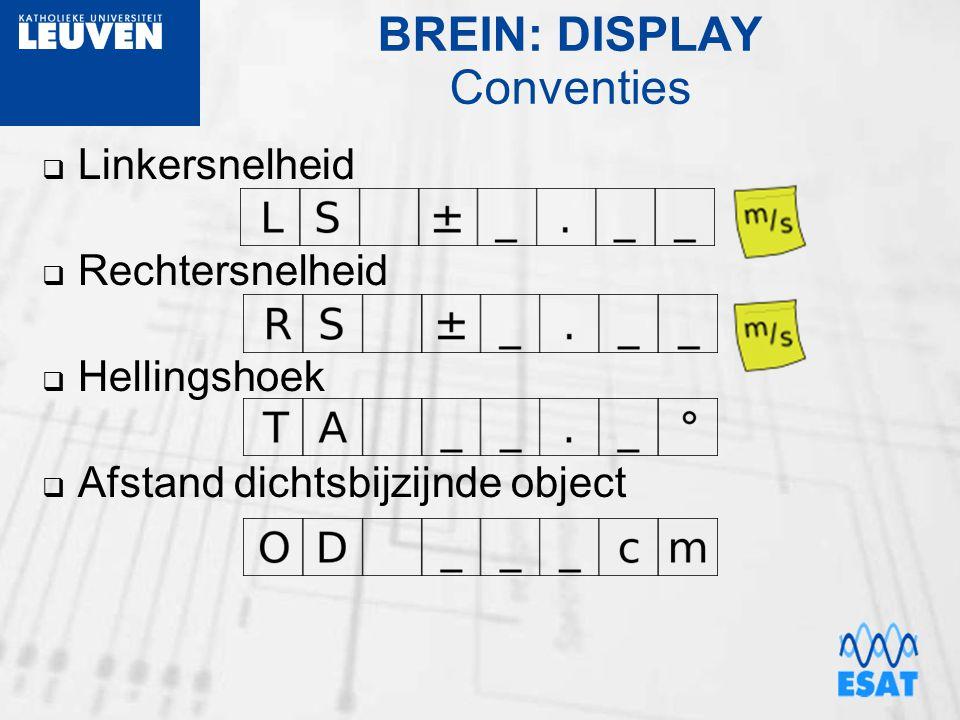 BREIN: DISPLAY Conventies  Linkersnelheid  Rechtersnelheid  Hellingshoek  Afstand dichtsbijzijnde object