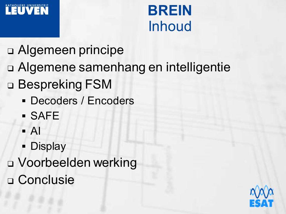 BREIN Inhoud  Algemeen principe  Algemene samenhang en intelligentie  Bespreking FSM  Decoders / Encoders  SAFE  AI  Display  Voorbeelden werk