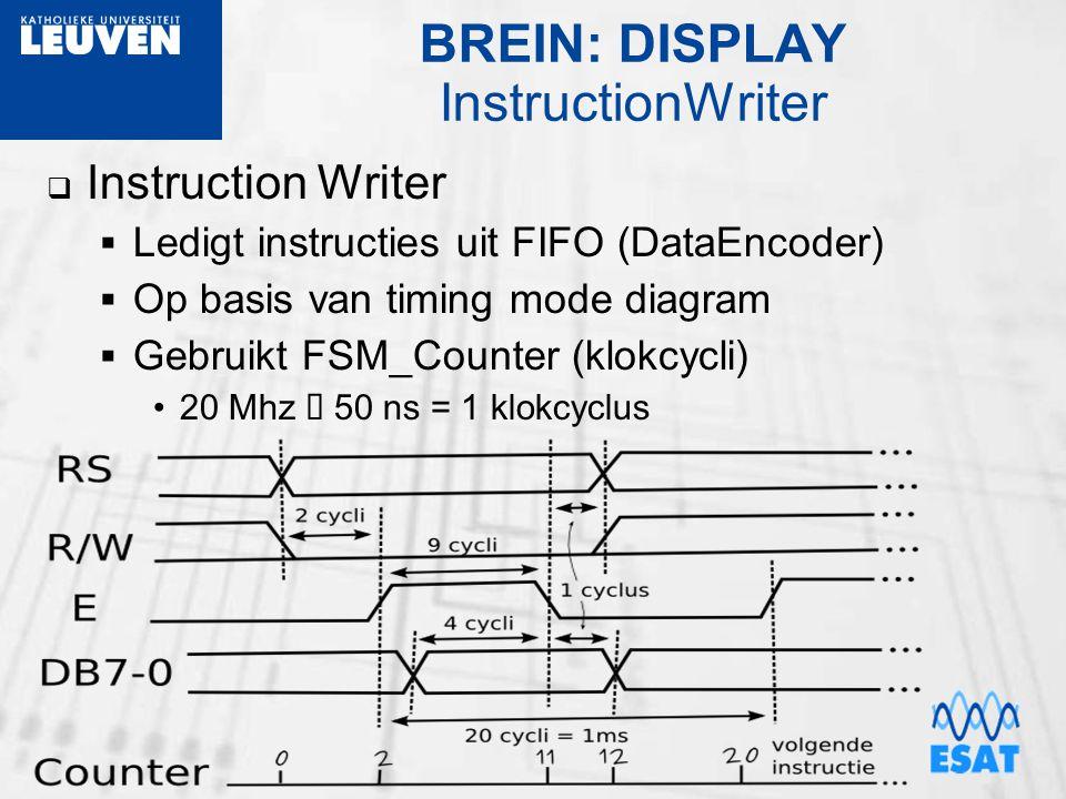 BREIN: DISPLAY InstructionWriter  Instruction Writer  Ledigt instructies uit FIFO (DataEncoder)  Op basis van timing mode diagram  Gebruikt FSM_C