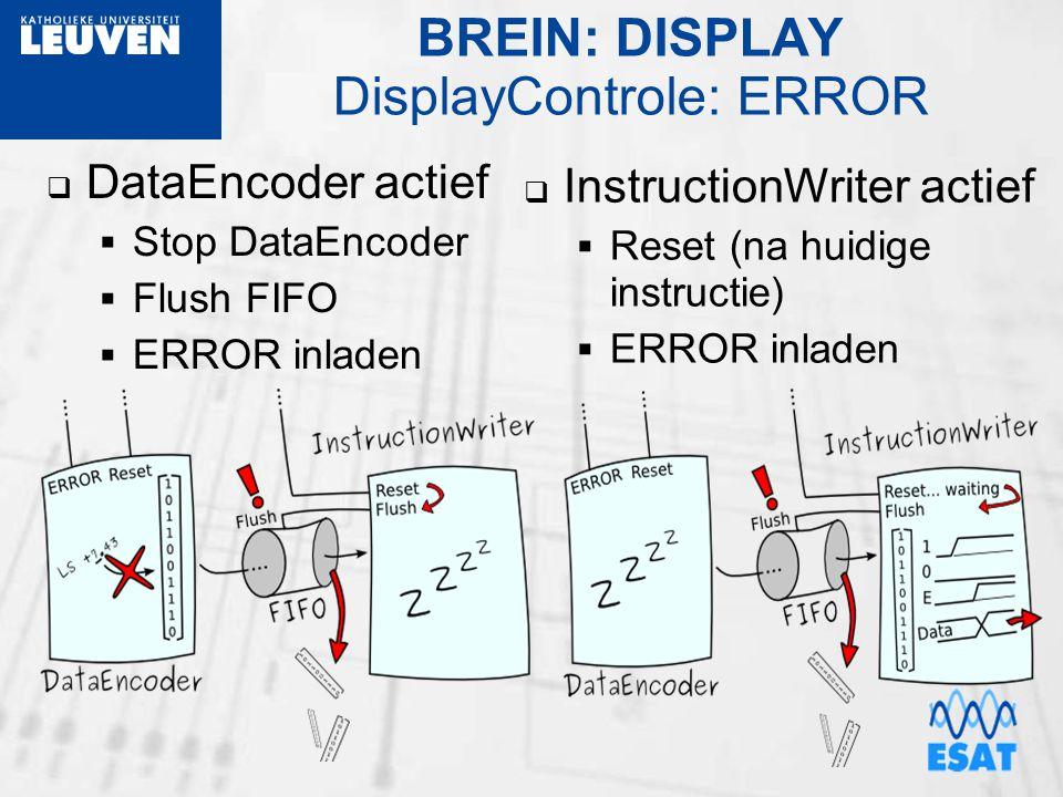 BREIN: DISPLAY DisplayControle: ERROR  DataEncoder actief  Stop DataEncoder  Flush FIFO  ERROR inladen  InstructionWriter actief  Reset (na huid