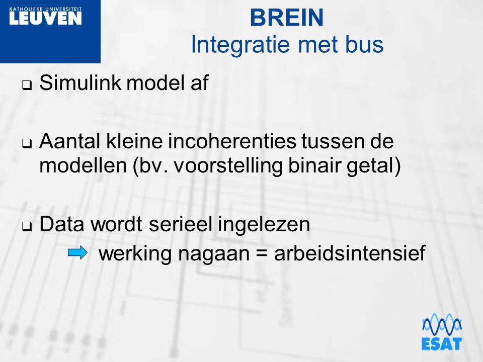 BREIN Integratie met bus  Simulink model af  Aantal kleine incoherenties tussen de modellen (bv. voorstelling binair getal)  Data wordt serieel ing