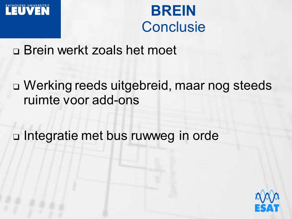 BREIN Conclusie  Brein werkt zoals het moet  Werking reeds uitgebreid, maar nog steeds ruimte voor add-ons  Integratie met bus ruwweg in orde