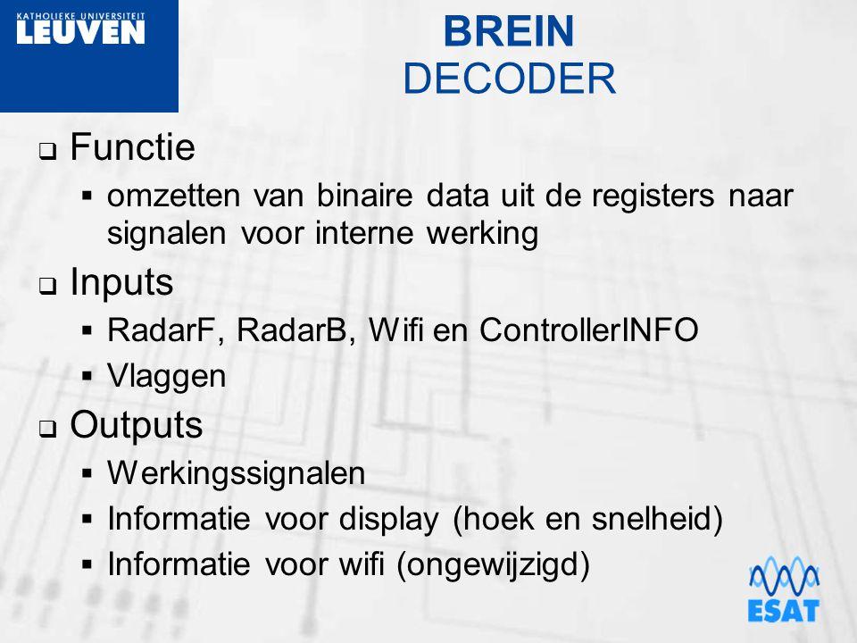 BREIN DECODER  Functie  omzetten van binaire data uit de registers naar signalen voor interne werking  Inputs  RadarF, RadarB, Wifi en ControllerI