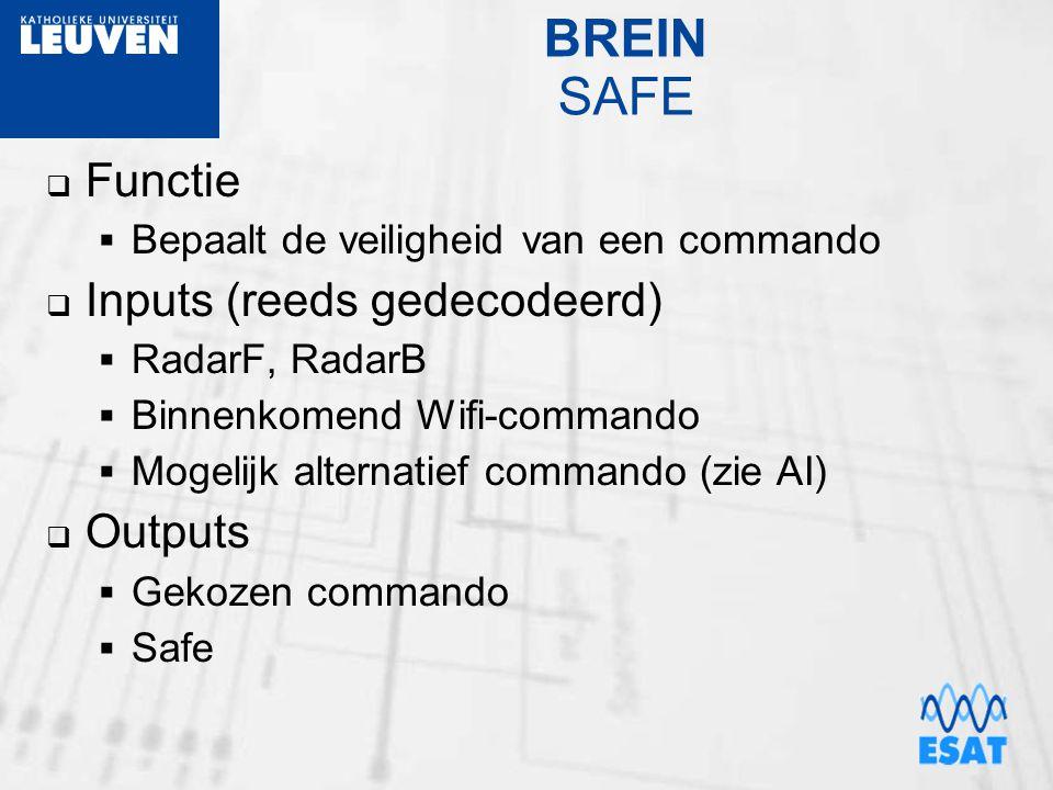BREIN SAFE  Functie  Bepaalt de veiligheid van een commando  Inputs (reeds gedecodeerd)  RadarF, RadarB  Binnenkomend Wifi-commando  Mogelijk a