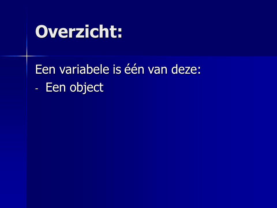 Overzicht: - Een object