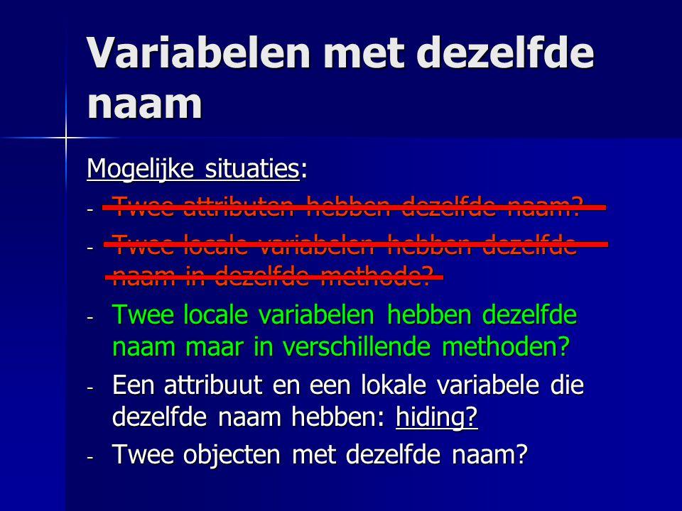Variabelen met dezelfde naam Mogelijke situaties: - Twee attributen hebben dezelfde naam? - Twee locale variabelen hebben dezelfde naam in dezelfde me