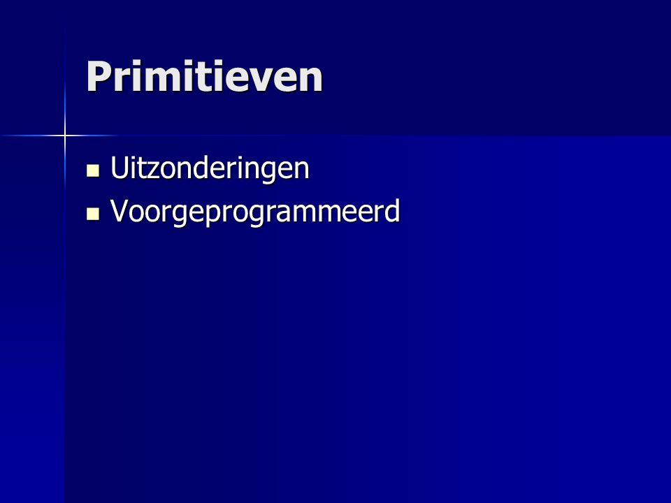 Primitieven Uitzonderingen Uitzonderingen Voorgeprogrammeerd Voorgeprogrammeerd byte, short, int, char, long, float, double, boolean.