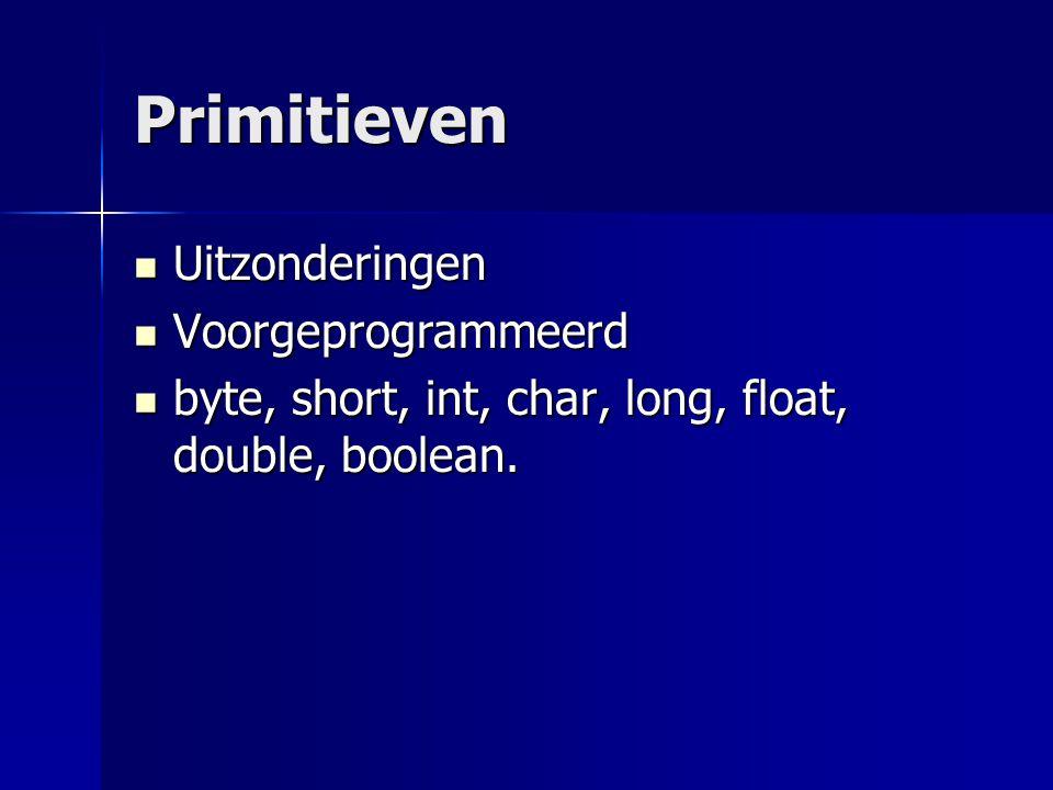 Primitieven Uitzonderingen Uitzonderingen Voorgeprogrammeerd Voorgeprogrammeerd byte, short, int, char, long, float, double, boolean. byte, short, int