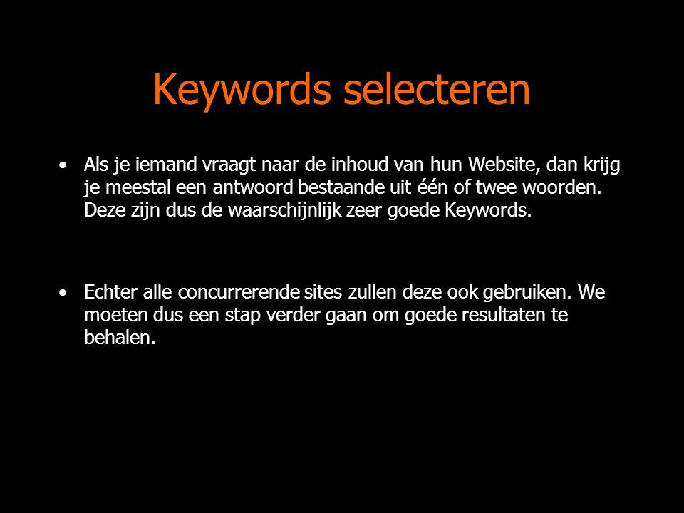 Keywords selecteren Als je iemand vraagt naar de inhoud van hun Website, dan krijg je meestal een antwoord bestaande uit één of twee woorden.
