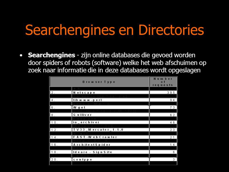 Searchengines en Directories Searchengines - zijn online databases die gevoed worden door spiders of robots (software) welke het web afschuimen op zoek naar informatie die in deze databases wordt opgeslagen