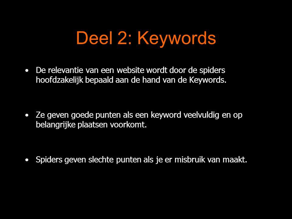 Deel 2: Keywords De relevantie van een website wordt door de spiders hoofdzakelijk bepaald aan de hand van de Keywords.