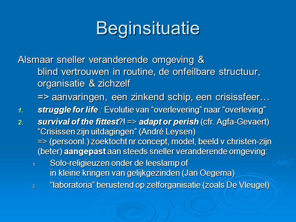 Beginsituatie Alsmaar sneller veranderende omgeving & blind vertrouwen in routine, de onfeilbare structuur, organisatie & zichzelf => aanvaringen, een zinkend schip, een crisissfeer… 1.