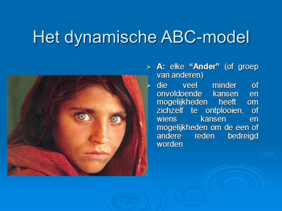 Het dynamische ABC-model  A: elke Ander (of groep van anderen)  die veel minder of onvoldoende kansen en mogelijkheden heeft om zichzelf te ontplooien, of wiens kansen en mogelijkheden om de een of andere reden bedreigd worden