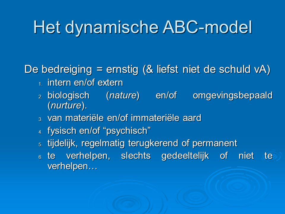 Het dynamische ABC-model De bedreiging = ernstig (& liefst niet de schuld vA) 1.