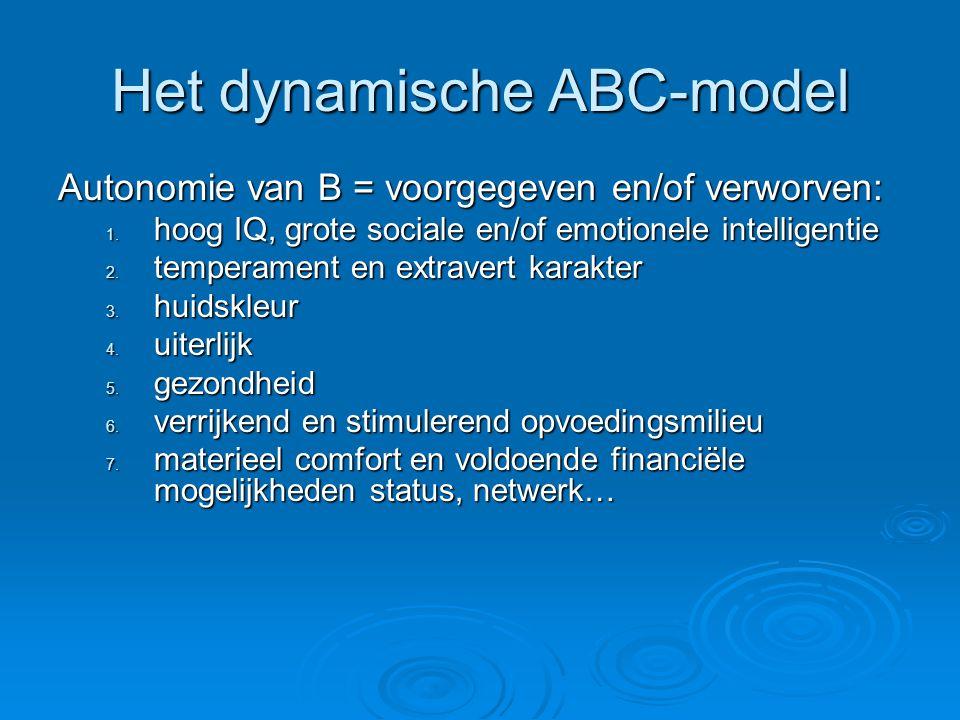 Het dynamische ABC-model Autonomie van B = voorgegeven en/of verworven: 1.
