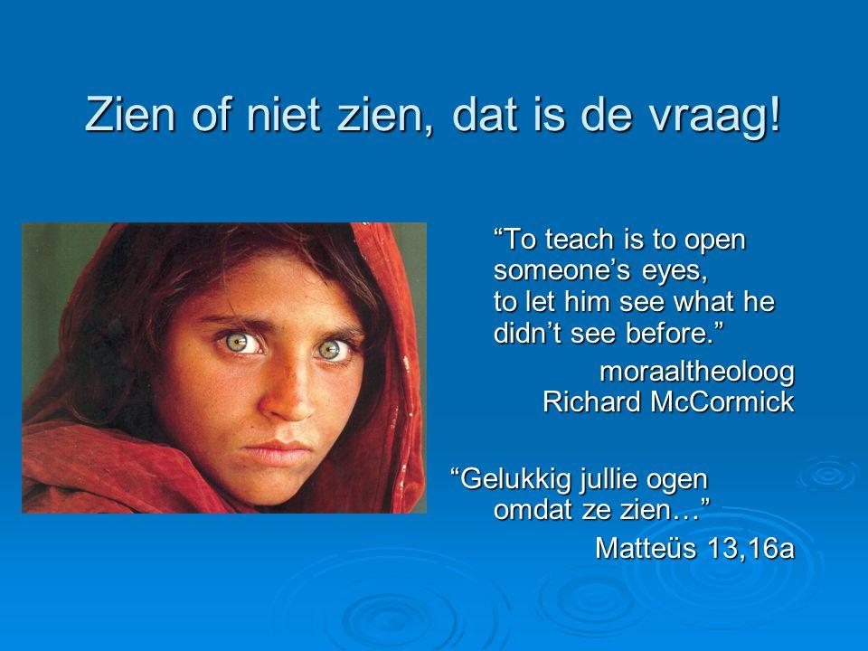 "Zien of niet zien, dat is de vraag! ""To teach is to open someone's eyes, to let him see what he didn't see before."" moraaltheoloog Richard McCormick """