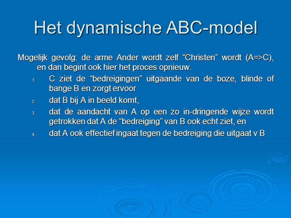 Het dynamische ABC-model Mogelijk gevolg: de arme Ander wordt zelf Christen wordt (A=>C), en dan begint ook hier het proces opnieuw.