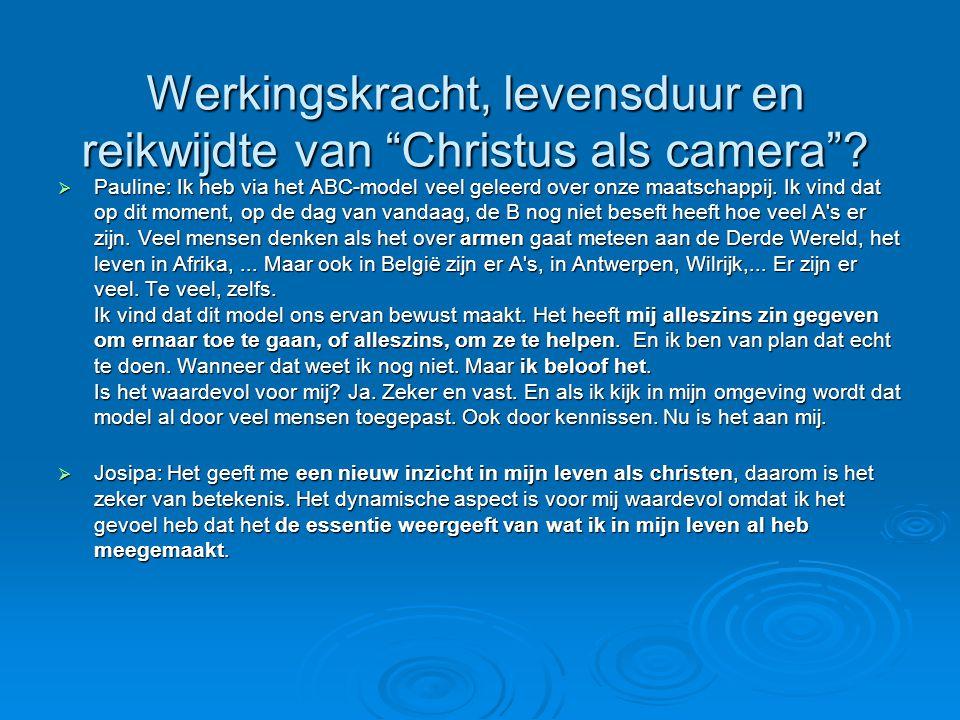 Werkingskracht, levensduur en reikwijdte van Christus als camera .