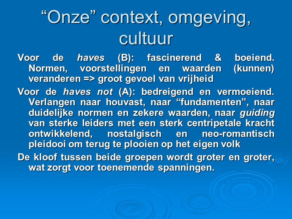 Onze context, omgeving, cultuur Voor de haves (B): fascinerend & boeiend.
