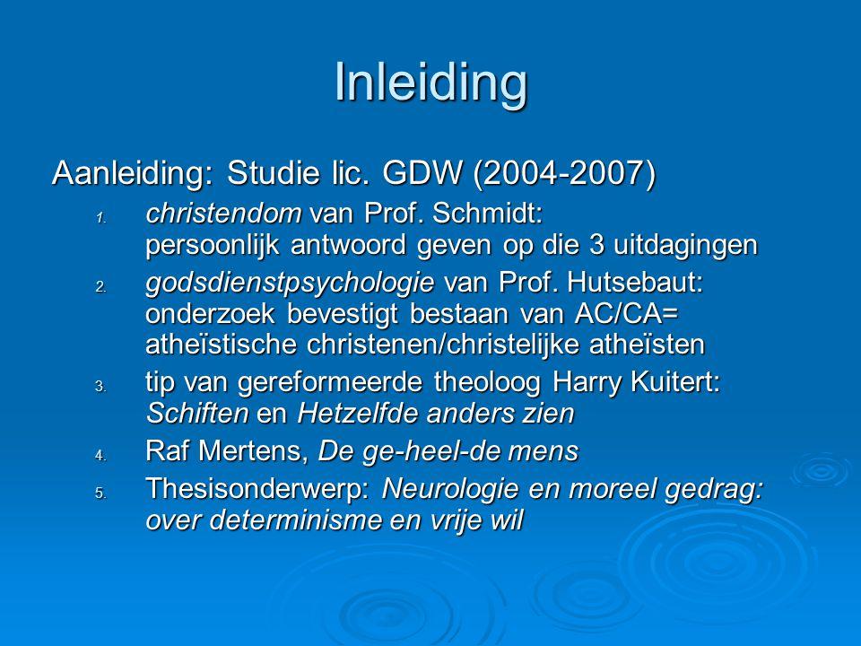 Inleiding Aanleiding: Studie lic.GDW (2004-2007) 1.