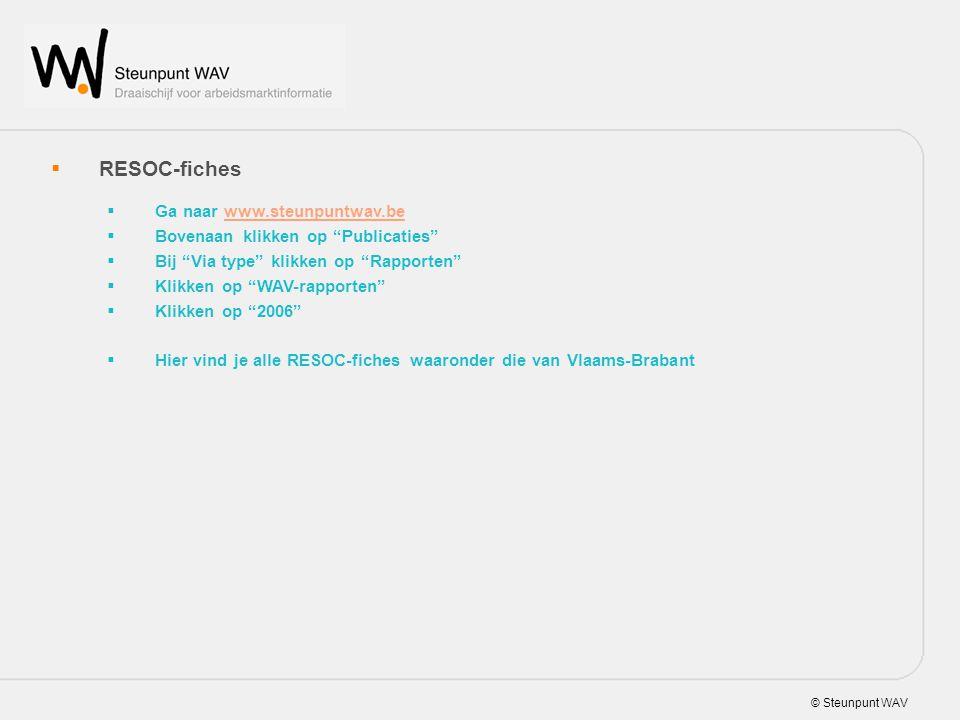 © Steunpunt WAV  RESOC-fiches  Ga naar www.steunpuntwav.bewww.steunpuntwav.be  Bovenaan klikken op Publicaties  Bij Via type klikken op Rapporten  Klikken op WAV-rapporten  Klikken op 2006  Hier vind je alle RESOC-fiches waaronder die van Vlaams-Brabant